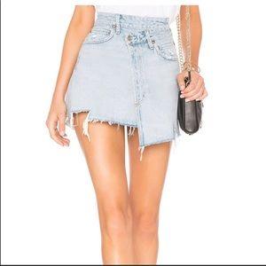 AGOLDE Asymmetrical Skirt in light blue